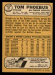 1968 Topps #97  Tom Phoebus  Back Thumbnail
