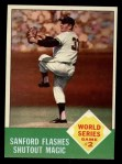 1963 Topps #143   -  Jack Sanford 1962 World Series - Game #2 - Sanford Flashes Shutout Magic Front Thumbnail