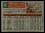 1959 Topps #322 xTR Harry Hanebrink  Back Thumbnail