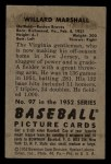 1952 Bowman #97  Willard Marshall  Back Thumbnail