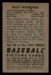 1952 Bowman #89  Billy Hitchcock  Back Thumbnail