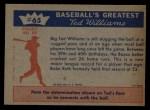 1959 Fleer #65   -  Ted Williams  August 30 1958 Back Thumbnail