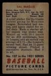 1951 Bowman #127  Sal Maglie  Back Thumbnail