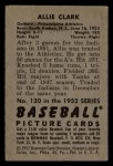 1952 Bowman #130  Allie Clark  Back Thumbnail