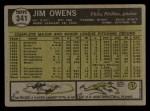 1961 Topps #341  Jim Owens  Back Thumbnail