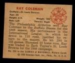 1950 Bowman #250 CPR Ray Coleman  Back Thumbnail