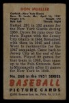 1951 Bowman #268  Don Mueller  Back Thumbnail