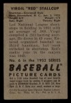 1952 Bowman #6  Virgil Stallcup  Back Thumbnail