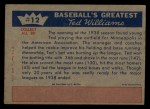 1959 Fleer #12   -  Ted Williams  Burning up the Minors Back Thumbnail