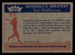 1959 Fleer #73   -  Ted Williams Hitting Fundamentals #3 Back Thumbnail