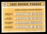 1963 Topps #29 III  -  Sammy Ellis / Ray Culp / John Boozer / Jesse Gonder  Rookies Back Thumbnail
