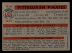 1957 Topps #161   Pirates Team Back Thumbnail
