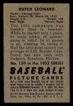 1952 Bowman #159  Dutch Leonard  Back Thumbnail