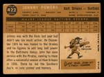 1960 Topps #422  John Powers  Back Thumbnail