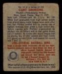 1949 Bowman #14  Curt Simmons  Back Thumbnail