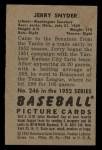 1952 Bowman #246  Jerry Snyder  Back Thumbnail