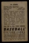 1952 Bowman #34  Al Dark  Back Thumbnail