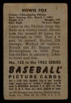 1952 Bowman #125  Howard Fox  Back Thumbnail