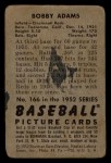 1952 Bowman #166  Bobby Adams  Back Thumbnail