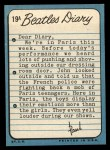 1964 Topps Beatles Diary #19 A Paul McCartney  Back Thumbnail