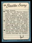 1964 Topps Beatles Diary #19 A Paul McCartney  Back Thumbnail