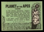 1969 Topps Planet of the Apes #21   Caged Back Thumbnail