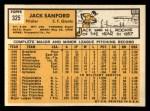 1963 Topps #325  Jack Sanford  Back Thumbnail