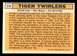 1963 Topps #218   -  Frank Lary / Don Mossi / Jim Bunning Tiger Twirlers Back Thumbnail
