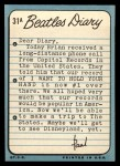 1964 Topps Beatles Diary #31 A Paul McCartney  Back Thumbnail