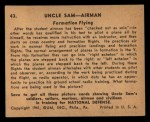 1941 Gum Inc. Uncle Sam Home Defense #43   Formation Flying Back Thumbnail
