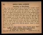 1941 Gum Inc. Uncle Sam Home Defense #45   Learning To Dive-Bomb Back Thumbnail