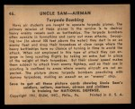 1941 Gum Inc. Uncle Sam Home Defense #46   Torpedo Bombing Back Thumbnail