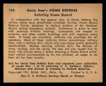 1941 Gum Inc. Uncle Sam Home Defense #104   Enlisting Home Guard Back Thumbnail