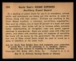 1941 Gum Inc. Uncle Sam Home Defense #109   Auxiliary Coast Guard Back Thumbnail
