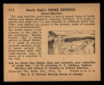 1941 Gum Inc. Uncle Sam Home Defense #117   Steel Shelter Back Thumbnail