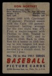 1951 Bowman #70  Ron Northey  Back Thumbnail