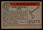1953 Bowman Firefighters #18   Modern Searchlight Wagon - Ward LaFrance Back Thumbnail