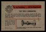 1953 Bowman Firefighters #41   1922 Triple Combination Back Thumbnail