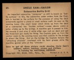 1941 Gum Inc. Uncle Sam Home Defense #59   Submarine Battle Drill Back Thumbnail