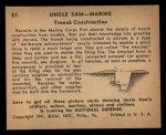 1941 Gum Inc. Uncle Sam Home Defense #87   Trench Construction Back Thumbnail