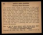 1941 Gum Inc. Uncle Sam Home Defense #88   Pitching Hand Grenades Back Thumbnail