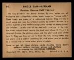 1941 Gum Inc. Uncle Sam Home Defense #94   Bomber Rescue Raft Tactics Back Thumbnail