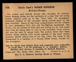 1941 Gum Inc. Uncle Sam Home Defense #108   Drivers Corps Back Thumbnail