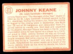 1964 Topps #413  Johnny Keane  Back Thumbnail