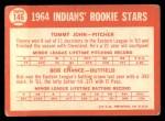 1964 Topps #146   -  Tommy John / Bob Chance Indians Rookies Back Thumbnail