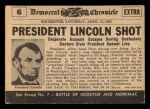 1954 Topps Scoop #6   Lincoln Shot Back Thumbnail