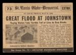 1954 Topps Scoop #73   Johnstown Flooded Back Thumbnail