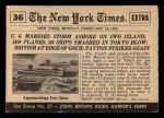 1954 Topps Scoop #36   Marines Land At Iwo Jima  Back Thumbnail