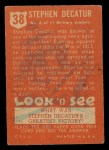 1952 Topps Look 'N See #38  Stephen Decatur  Back Thumbnail