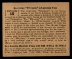 1939 Gum Inc. World In Arms #15 A  Australian Wirraway All-purpose Ship Back Thumbnail